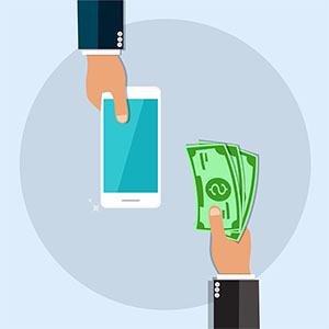 image of hands exchanging money for cellphone