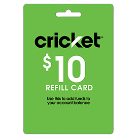 $10 Cricket Prepaid Refill Card