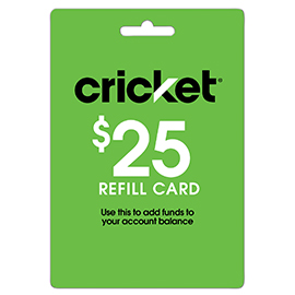 $25 Cricket Prepaid Refill Card