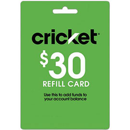 $30 Cricket Prepaid Refill Card