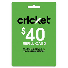 $40 Cricket Prepaid Refill Card