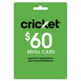 $60 Cricket Prepaid Refill Card