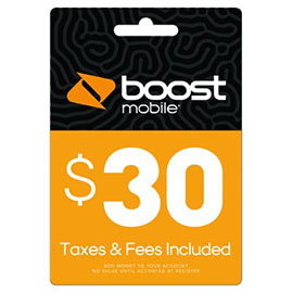 $30 Boost Mobile Re-Boost Card