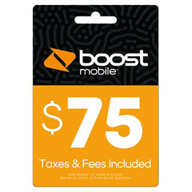 $75 Boost Mobile Re-Boost Card