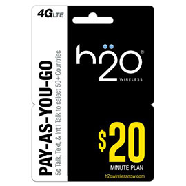 $20 H2o Pay as You Go Pre Paid Card