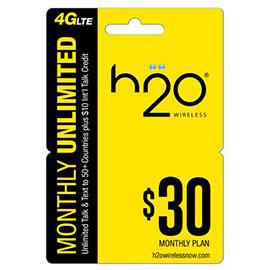$30 H2o Pay as You Go Pre Paid Card