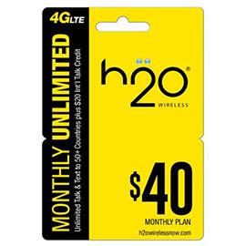 $40 H2o Pay as You Go Pre Paid Card