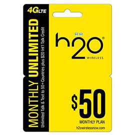 $50 H2o Pay as You Go Pre Paid Card