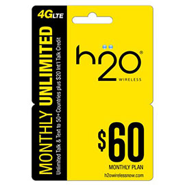 $60 H2o Pay as You Go Pre Paid Card