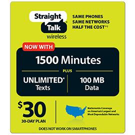 Straight Talk $30 Unlimited Prepaid Card