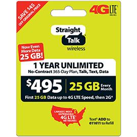 Straight Talk $495 Unlimited Prepaid Card
