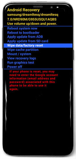 gs8 select wipe data