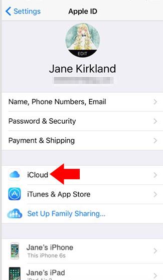 iphone apple id menu icloud location