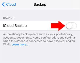 iphone backup menu icloud backup toggle