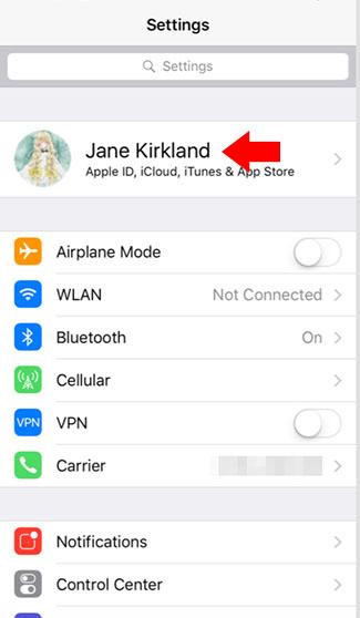 iphone settings menu apple id location