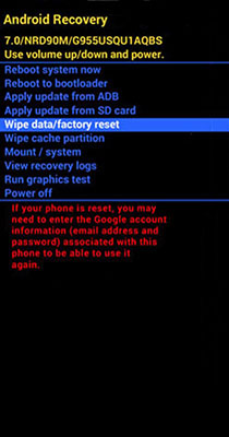 HTC recovery mode wipe data factory reset reboot