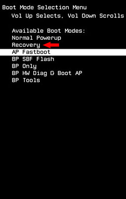 Recovery boot menu reboot