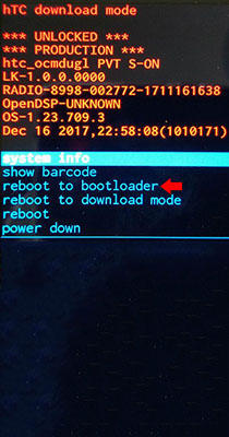 HTC reboot to bootloader