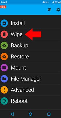 zte factory reset reboot menu wipe