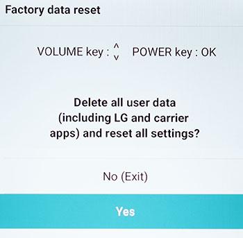 LG Factory Reset Menu