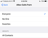 Allow calls from options DND
